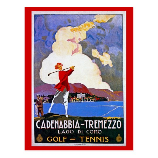 Vintage 1920s Lake Como Golf Italian travel advert