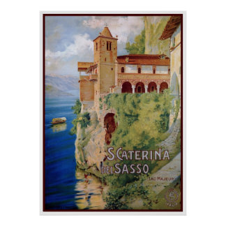 Vintage 1920s Lake Maggiore convent Italian travel Posters