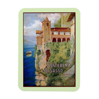 Vintage 1920s Lake Maggiore convent Italian travel Rectangular Magnet
