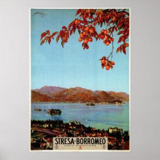Vintage 1920s Lake Maggiore Stresa Italian travel Poster