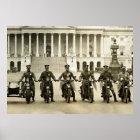 Vintage 1920s Motorcycle Cops Poster
