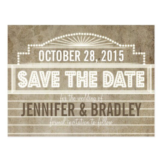 Vintage 1920's Movie Marquee Save the Date Postcard