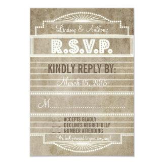 Vintage 1920's Movie Marquee Wedding RSVP 9 Cm X 13 Cm Invitation Card