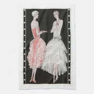 Vintage 1920s Pink, Black and   White Fashion Hand Towels