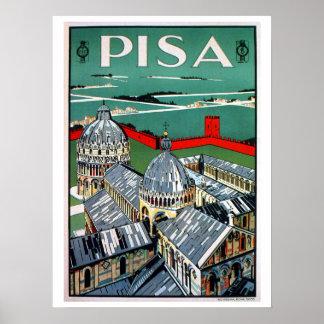 Vintage 1920s Pisa Italian travel Poster