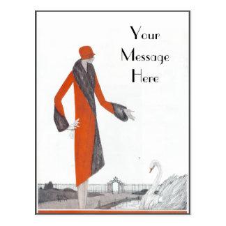 Vintage 1920's Red Coat Postcard