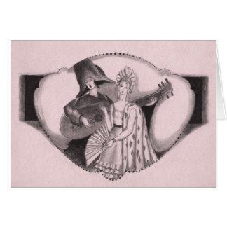 Vintage 1920's Retro Deco Flamenco Valentine Greeting Card