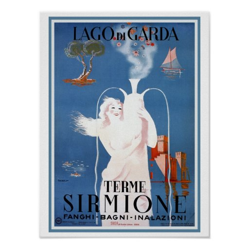 Vintage 1920s Sirmione Italian travel ad Poster