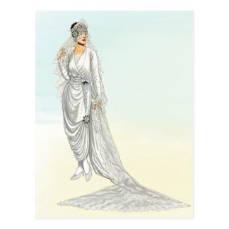 Vintage 1920s Wedding Gown Illustration Postcard