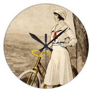 Vintage 1920s Woman Bicycle Advertisement Large Clock