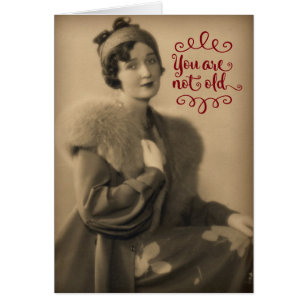 Funny retro birthday cards invitations zazzle vintage 1920s woman who is retro not old birthday card bookmarktalkfo Gallery