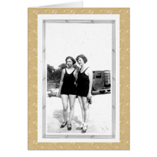 Vintage 1920s Women in Swimsuits Greeting Card