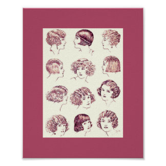 Vintage 1924 Women's Hair Styles Poster