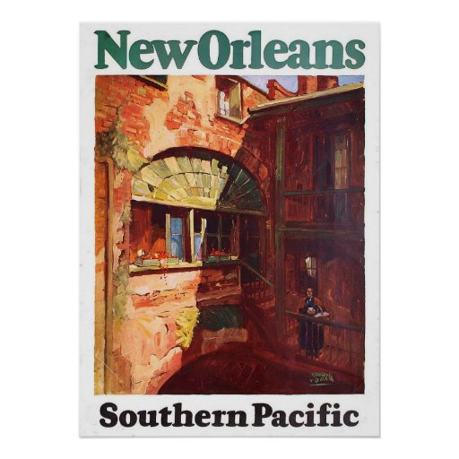 Vintage 1929 New Orleans Southern Pacific Travel Poster