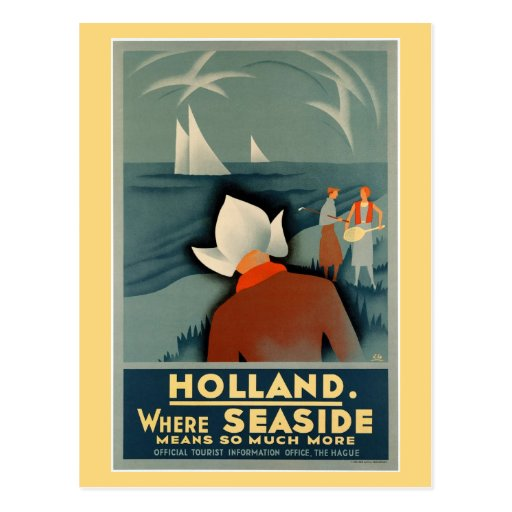 Vintage 1930 Holland Seaside Travel Postcard Zazzle