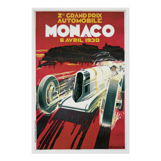 Vintage 1930 Monaco Grand Prix travel ad Poster