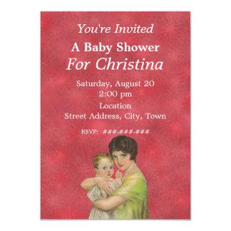 Vintage 1930's Mother Holding Child Baby Shower 11 Cm X 16 Cm Invitation Card