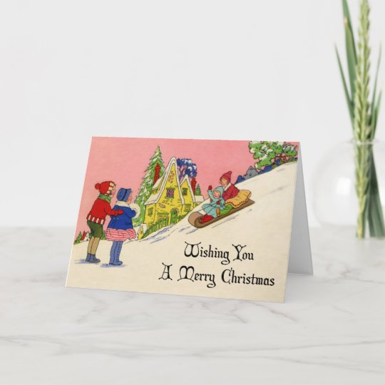 Vintage 1930s Art Deco Christmas Card Zazzle Co Uk