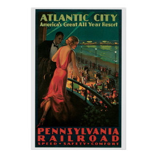 Vintage 1930s Atlantic City Travel ad Poster