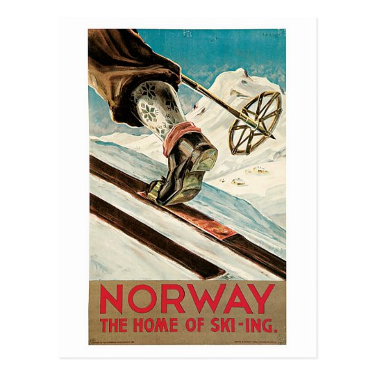 Vintage 1930s Norway ski travel ad Postcard