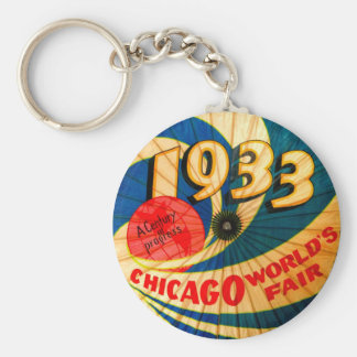 Vintage 1933 World's Fair Century Progress Ad Art Key Ring