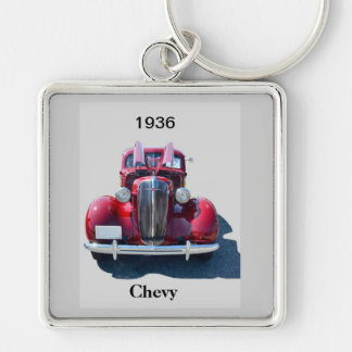 Vintage 1936 Chevrolet Silver-Colored Square Key Ring