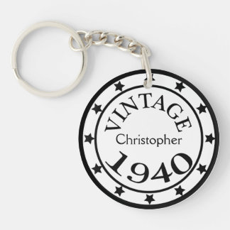 Vintage 1940 birthday year stars custom boys name acrylic keychain