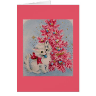 Vintage 1940 Christmas Cat Card