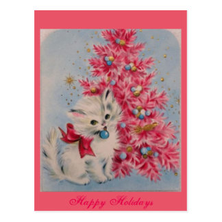 Vintage 1940 Christmas Cat Postcard