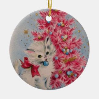 Vintage 1940 Christmas Cat Round Ceramic Decoration