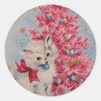 Vintage 1940 Christmas Cat Round Sticker