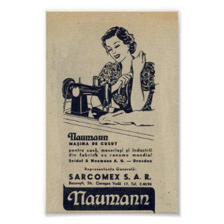 Vintage 1940 Sewing machine ad, romanian,NAUMANN Poster