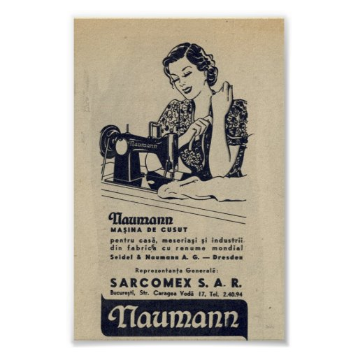 Vintage 1940 Sewing Machine Ad Romanian Naumann Poster