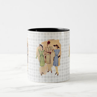 Vintage 1940s Fashion Two-Tone Coffee Mug