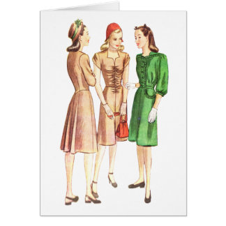 Vintage 1940s Fashion V2 Stationery Note Card