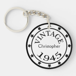 Vintage 1945 birthday year stars custom boys name round acrylic keychain