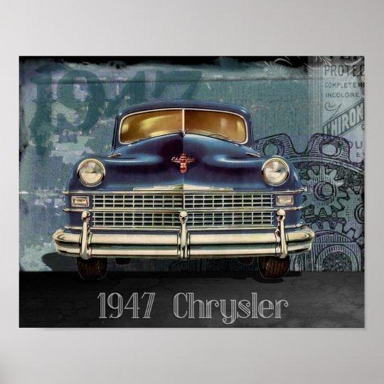 Vintage 1947 Chrysler Car Automobile Poster Art
