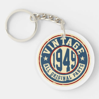 Vintage 1949 All Original Parts Single-Sided Round Acrylic Key Ring