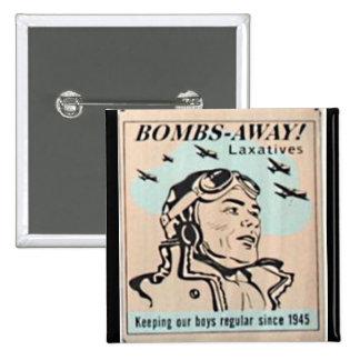 Vintage 1950 Pin - Bombs-Away Laxatives
