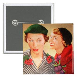Vintage 1950s housewives / ladies gossip 15 cm square badge
