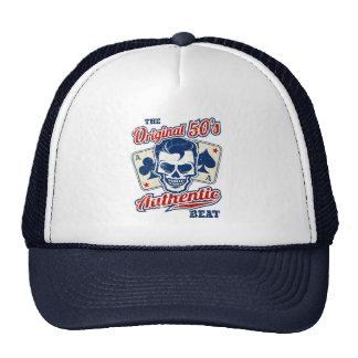 Vintage 1950s Rockabilly Skull with Aces Cap