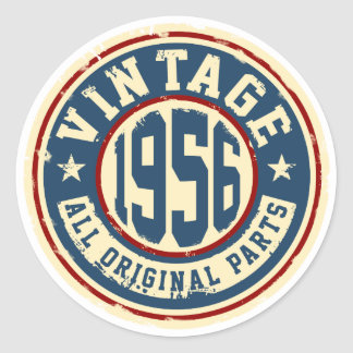 Vintage 1956 All Original Parts Classic Round Sticker