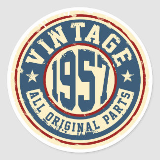 Vintage 1957 All Original Parts Classic Round Sticker
