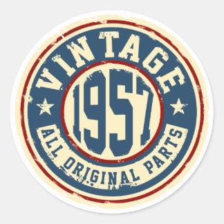 Vintage 1957 All Original Parts Round Sticker