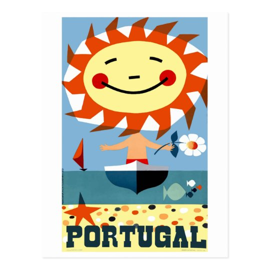 Vintage 1959 Portugal Seaside Travel Poster Postcard