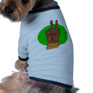 Vintage 1960s and 1970s Peace Hand Sign Ringer Dog Shirt
