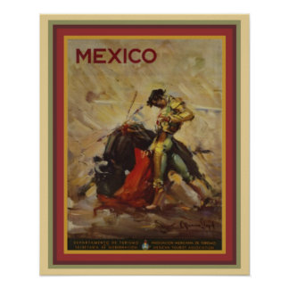 Vintage 1960's Mexico Bullfighting Poster 16 x 20