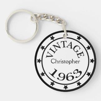 Vintage 1963 birthday year stars custom boys name Double-Sided round acrylic key ring