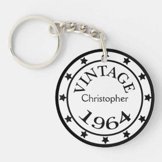 Vintage 1964 birthday year stars custom boys name Double-Sided round acrylic key ring