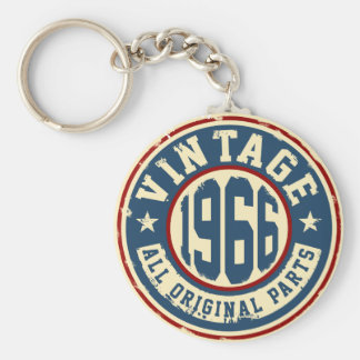 Vintage 1966 All Original Parts Basic Round Button Key Ring